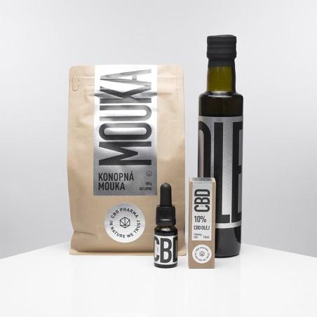 CBD PHARMA - KONOPNÝ BALÍČEK CBD OLEJ 10% 10ml, Konopná mouka 500g, Konopný olej 250ml